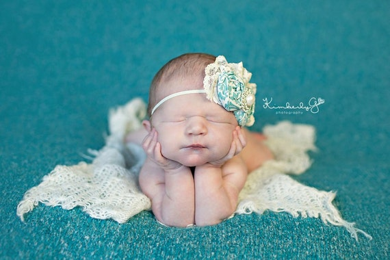 Pearl After my Own Heart- ivory and aqua rosette and lace vintage inspired headband