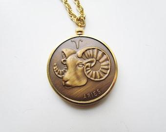 Aries Vintage Zodiac Horoscope Pendant c.1970s