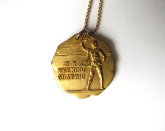 Antique Running Medal / NY Evening Graphic 1st Annul Punch Ball Championship 1926