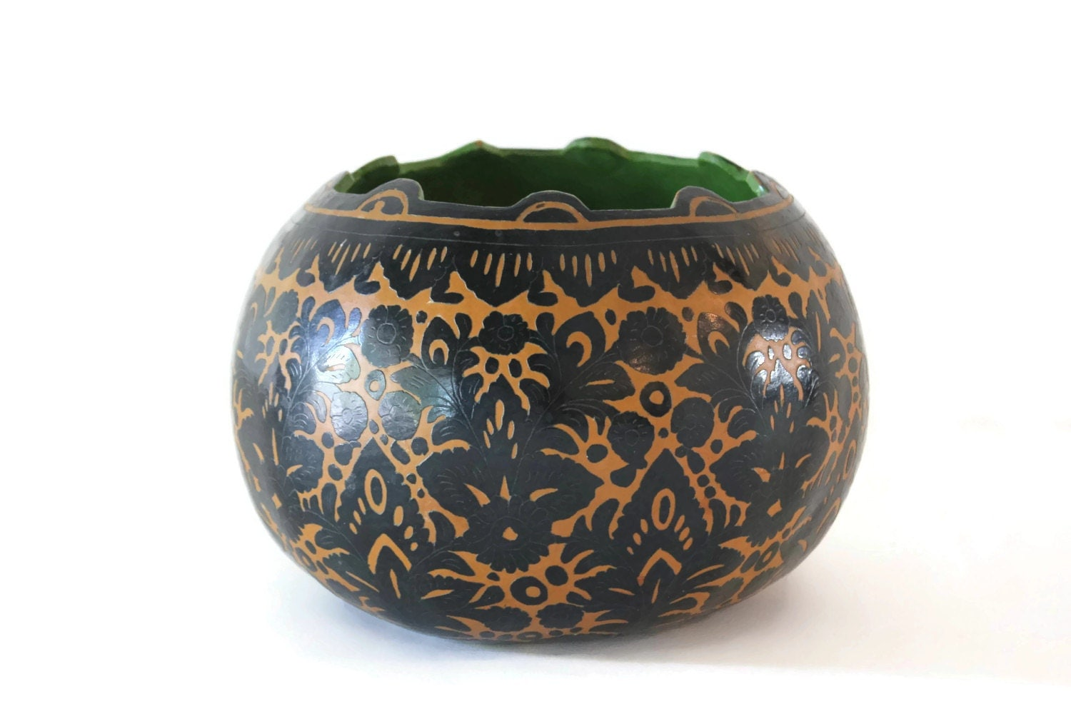Carved And Painted Gourd Bowl With Scrolled Floral Design