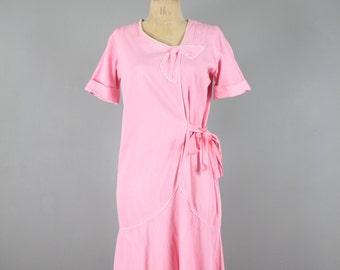 20s Pink Cotton Dress . Antique Flapper . Small