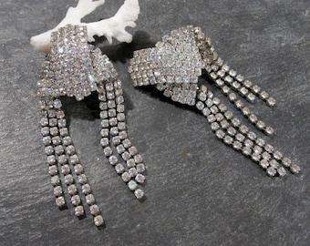 Rhinestone Chandelier Earrings VINTAGE Chandelier Earrings Ready to Wear Clear Rhinestones Dynamic Vintage Rhinestone Earrings Jewelry (L33)