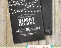 Rustic Twinkle Lights Chalkboard Engagement Party Invitation- Chalkboard / Engagement Party / Couples Shower / Festoon Lights