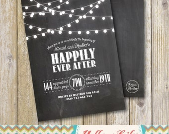 Rustic Twinkle Lights Chalkboard Engagement Party Invitation- Chalkboard / Engagement Party / Couples Shower / Festoon Lights
