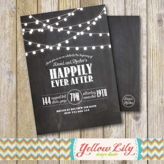 Chalkboard Engagement Party Invitation Printable By: Rustic Twinkle Lights Chalkboard Engagement Party Invitation