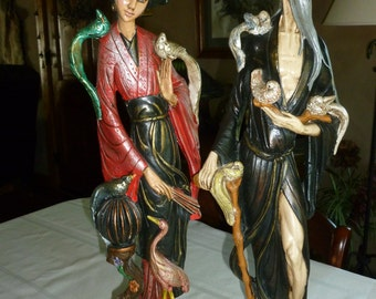 Vintage Oriental Chinese/Japanese/Asian Man and Woman Figurine Beautiful Details 20in