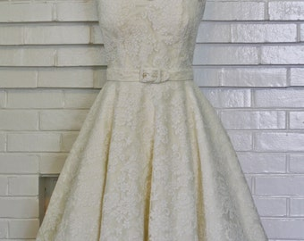 Audrey Wedding Dress-Oscar Dress In Lace-Short Wedding Dress--1950s Bridal-Bespoke Custom made to size
