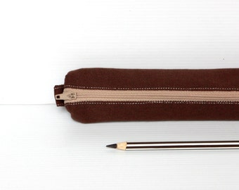Simple Brown Pencil Case, Cotton Canvas Zipper Pouch, Small Cosmetic Pouch