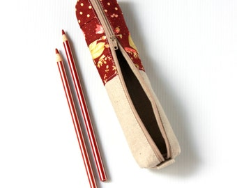 Red Maroon Floral Linen Pencil Case, Cottage Chic Style Zipper Pencil Pouch, Small Pencilcase