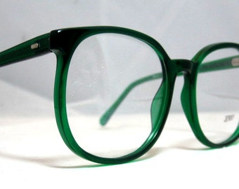 Vintage 80s Large Square Horn Rim Eyeglass Frames. Bright Emerald Green