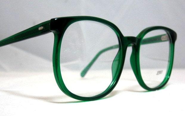 Vintage 80s Large Square Horn Rim Eyeglass Frames. Bright
