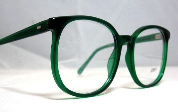 Green Eyeglass Frames Plastic : Vintage 80s Large Square Horn Rim Eyeglass Frames. Bright