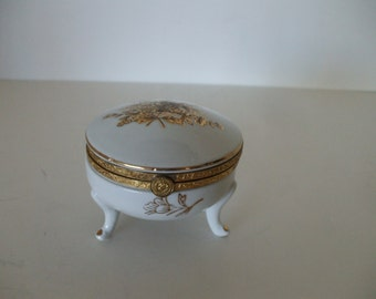 White Porcelain, Gold Handpainted Floral Bouquet Footed Trinket Box,  French Country,  Hollywood Regency,