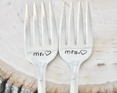 MR. & MRS. Hand Stamped Vintage Wedding Cake Forks - Customized with your Wedding Date
