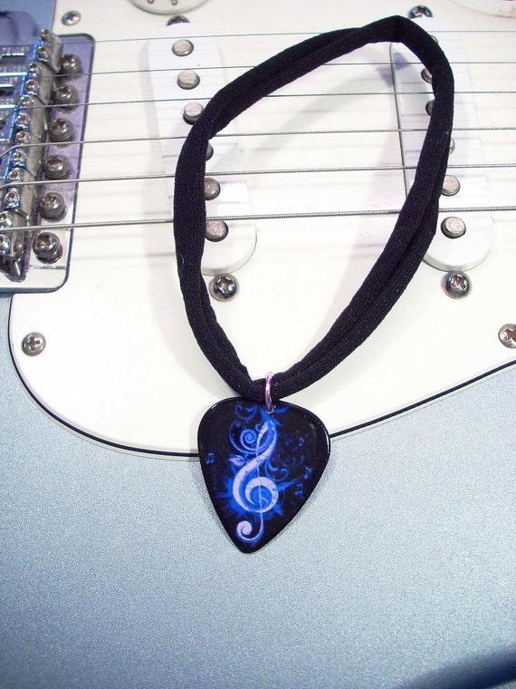 Music Guitar Pick Choker - G Clef Guitar Pick Choker - Necklace