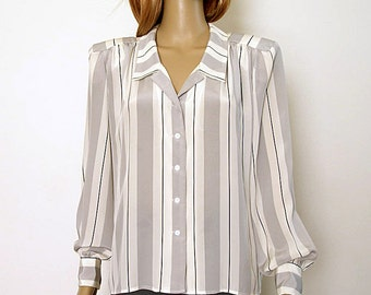 Vintage 1980s Liz Claiborne Blouse Striped Gray Black White Shirt / Medium