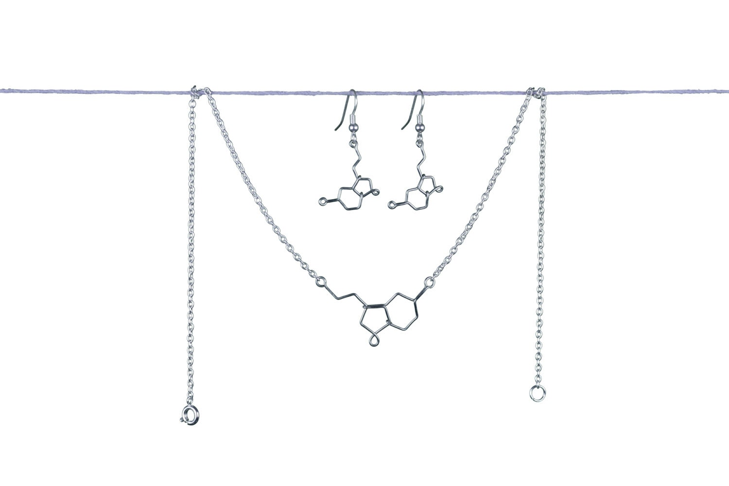 Serotonin Molecule Gift Set - Matching Chemistry Jewelry - Bracelet or Necklace and Earrings