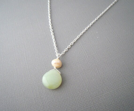 jade pendant necklace mint green necklace green by