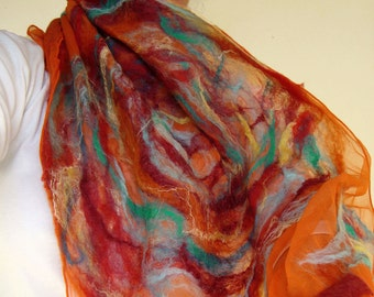 nuno felted scarf -set fire to the rain- reserved for Leslie