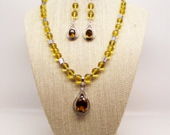 Sunshine – Citrine Necklace and Earrings Set – Yellow Necklace and Earrings Set
