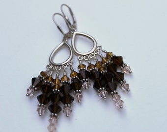 Swarovski Crystal Fringe Hoop Earrings