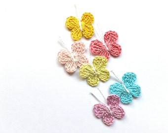 Pastel butterflies applique - crochet butterflies embellishment - pastel decorations - kids birthday party decorations - set of 6 ~1 inch