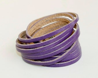 Multi-Strand Leather Cuff, Purple Genuine Leather  Double Wrap Cuff Bracelet