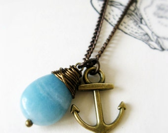 Anchor and Ocean Wire Wrapped Necklace