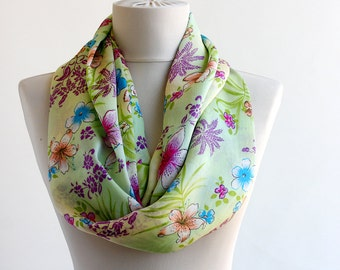 Spring scarf Silk infinity scarves Mothers day gift Floral Light green chartreuse summer scarf womens scarves