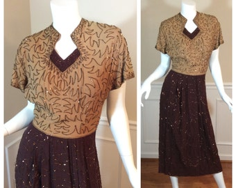 Vintage 1940s Andrew Sisters Style Beaded Dress