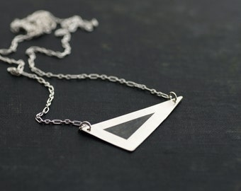 Sterling Silver Triangle Necklace on Chain - Black and White Collection