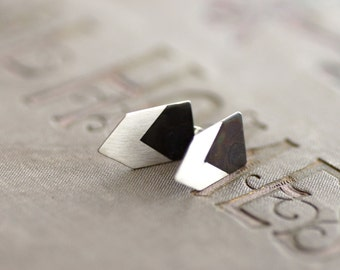 Geometric Arrow Earrings - Black and White Collection - Sterling Silver