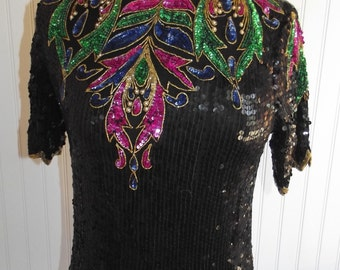 1970s or early 1980s Short Sleeved Silk, Fully Sequined Top, by petite Illustrations, Size Small, 42167
