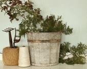 Antique Heavy Wooden Sap Bucket Pail