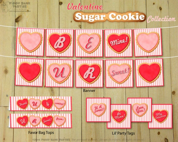 Valentine SUGAR COOKIE Collection : DIY Printable Valentine's Day Party Decoration // Sweet Love & Heart Themed Decor - Instant Download