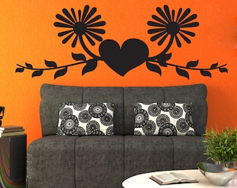Vinyl Wall Decal Sticker Heart With Vines and Flowers 1436m