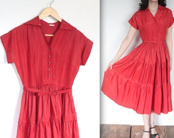 Vintage 1950's Dress // 50s Bright Red Taffeta Swing Party Dress with Studded Collar // DIVINE