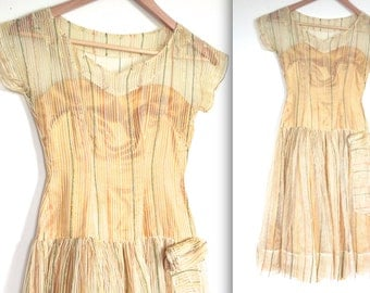 SALE Vintage 1950's Dress // 50s Golden Party Prom Dress with Colourful Ric Rac Stripes // DIVINE