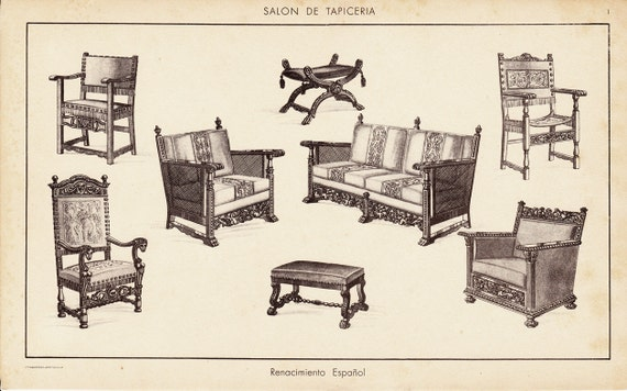 Like this item? - 1920s Antique Furniture Engraving From Spain Spanish