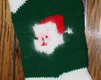 Knitted Personalized 2 Santa Faces Christmas Stocking