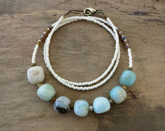 Blue Amazonite Pebble Necklace, rustic Bohemian tribal style stone jewelry in cool blue and bone white, beach inspired