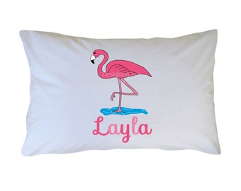 Personalized Pink Flamingo Pillow Case, Travel, Toddler, Standard Size