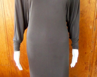 70s JEAN MUIR--Charcoal Grey Jersey Dress--Dolman Sleeves--Made in England--Size 6/8