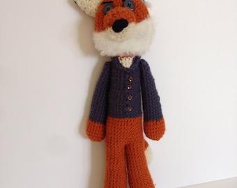 Vincent Van Gogh Fox, crochet fox doll, crocheted artist doll