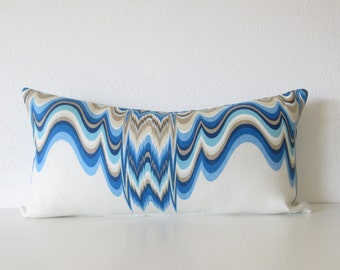 Blue aqua Jonathan Adler oceanfront distorted lumbar pillow cover designer pillow cover