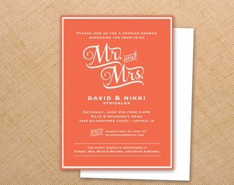 Wedding Shower  Invitation - 5x7 Digital file - Print at your convenience