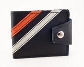 "Black w/ White and Orange Stripes Mans Billfold Wallet  - ""The Reuben Wallet"" - Handmade Vegan"