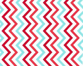 Mini Chic Chevron in Aqua Red - Michael Miller Fabrics