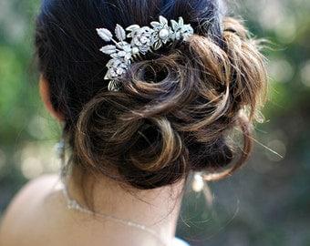 Bridal hair comb, Pearl Rhinestone Hair Comb, Bridal Rhinestone Hair Comb, Wedding Rhinestone Hair Comb, crystal hair comb,  ROSELANI