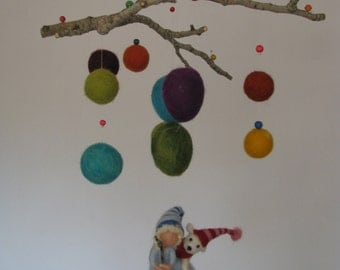 Waldorf inspired needle felted nursery mobile - Boy wth his dog friend -The big adventure